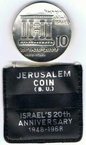 Israel-1968-Jerusalem-Silver-Coin-10-IL-BU-26gr-37mm-Original-Case