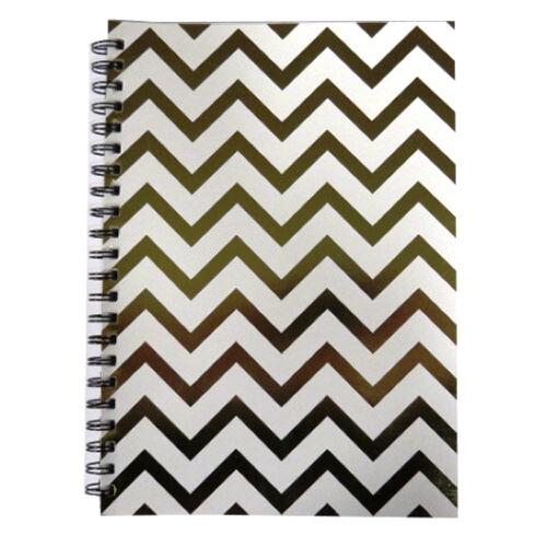 440 Pages Spots 3 Designs Harlequin Zigzag A4 Wirebound Gold Notebook