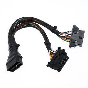 16 pin dlc y adapter stecker diagnose obd 2 verl ngrung diagnose kabel elm327 ebay. Black Bedroom Furniture Sets. Home Design Ideas