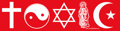 TOXIC anti-religion BUMPER STICKER agnostic atheist atheism anti-religious