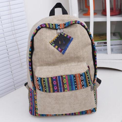 Women Girl Canvas Print Backpack Book College Satchel School Bag Travel Laptop