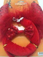 Halloween 3pc Red Devil Headband Horn Tail Bowtie Acessories Costume Kids Adults