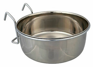 SALE-Trixie-Stainless-Steel-Pet-Bird-Cage-Coop-Cup-Feeder-Bowl-Holder-4-Sizes
