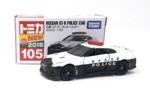Tomica-DIECAST-maqueta-de-coche-1-62-nr-105-Nissan-GTR-policia-Takara-Tomy