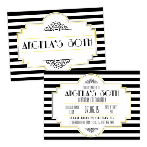 Personalised birthday party invitations black white 1920s art deco personalised birthday party invitations black white 192039s art deco free envelop filmwisefo