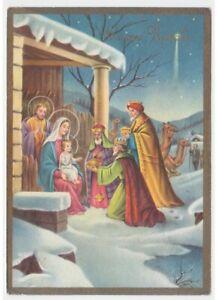 Navidad-Vintage-Tarjeta-Postal-Religiosa-Natividad-Jesus-Nino-Re-Magi-Comet