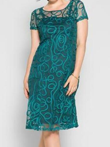 Nuevo Sheego cóctel vestido de noche vestido Opal verde 46 l puntas vestido patrón