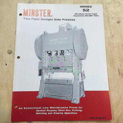 Vtg Minster Machine Co Catalog Series S2 Straight Side Presses Brochure EBay