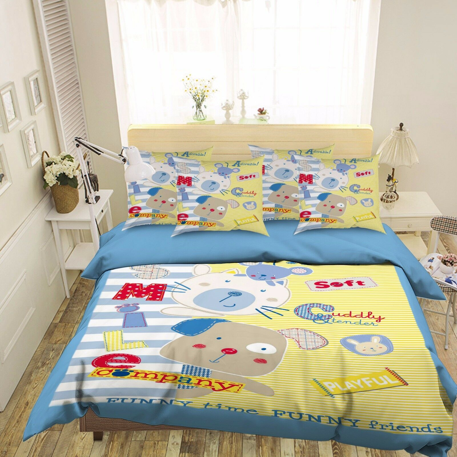 3D CKunstoon Animal 553 Bett Pillowcases Quilt Duvet Startseite Set Single Königin CA