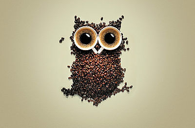 Framed Print - Owl Sculpted with Coffee Mugs & Beans (Picture Poster Animal Art)