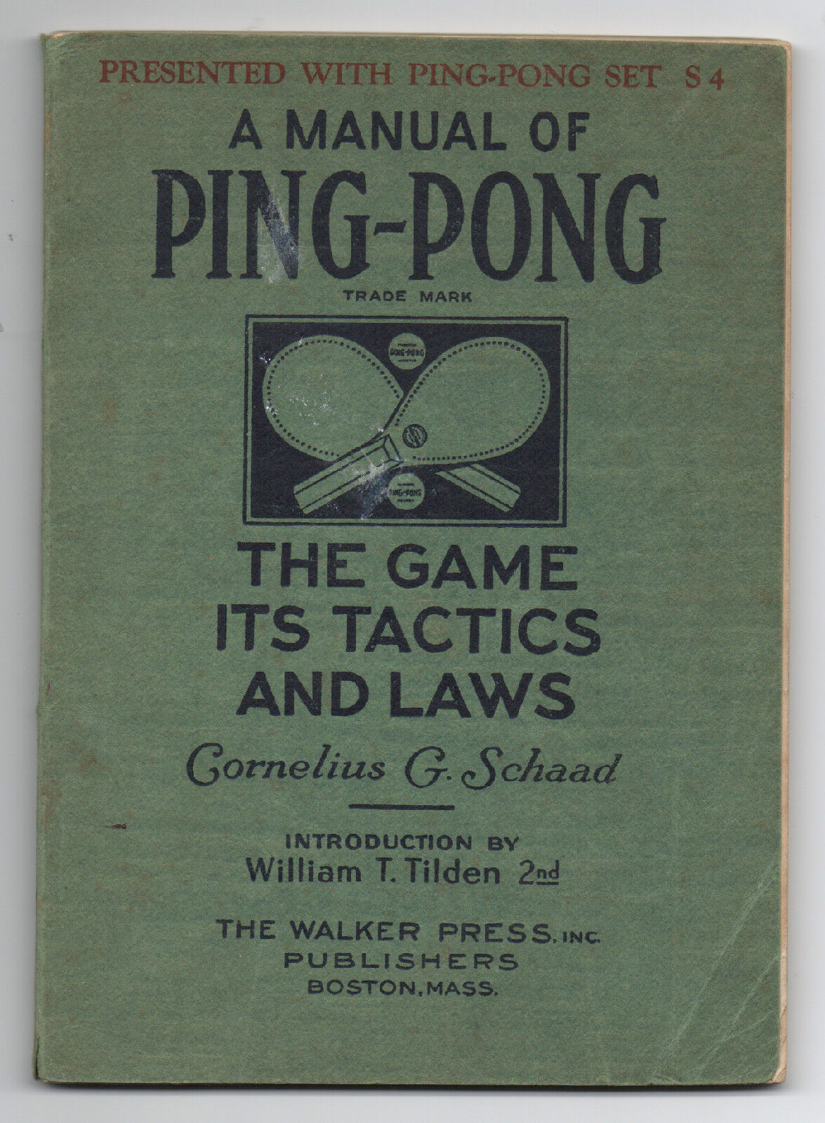 1929 Manual of Ping Pong The Game It's Tactics & Laws by Cornelius Schaad