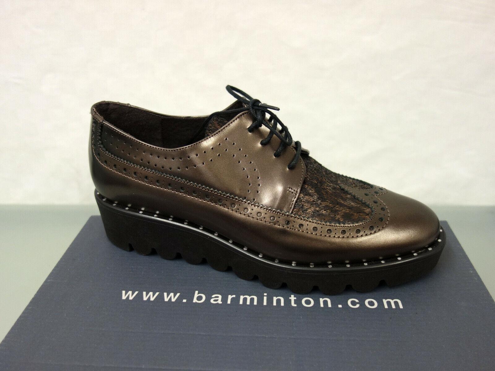 Nuevo barminton cuero con cordones talla 36 College zapatos Budapester tipo marrón