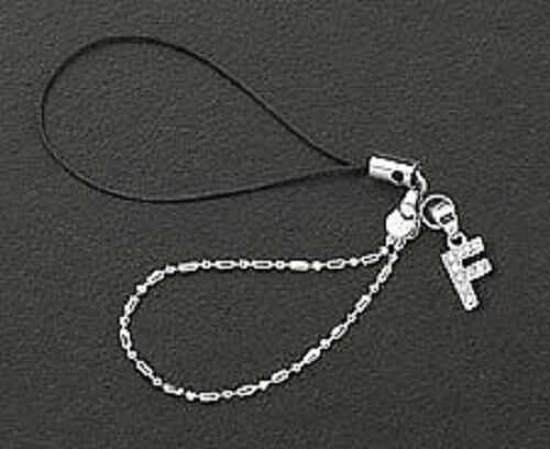 Cell Phone Charm Strap Sterling Silver Dangle Crystals Letter F Free Shipping