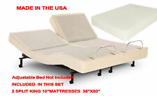 10 inch Split King Deluxe Memory Foam Mattress for Adjustable Beds Made in USA