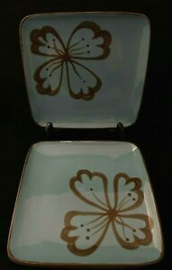 Pier-1-HIBISCUS-Salad-Plate-Teal-Brown-Square-Floral-Hand-Painted-Lot-of-4
