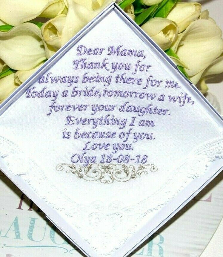 Personalized Mother of the Bride handkerchief gift for mom Embroidered BOXED,