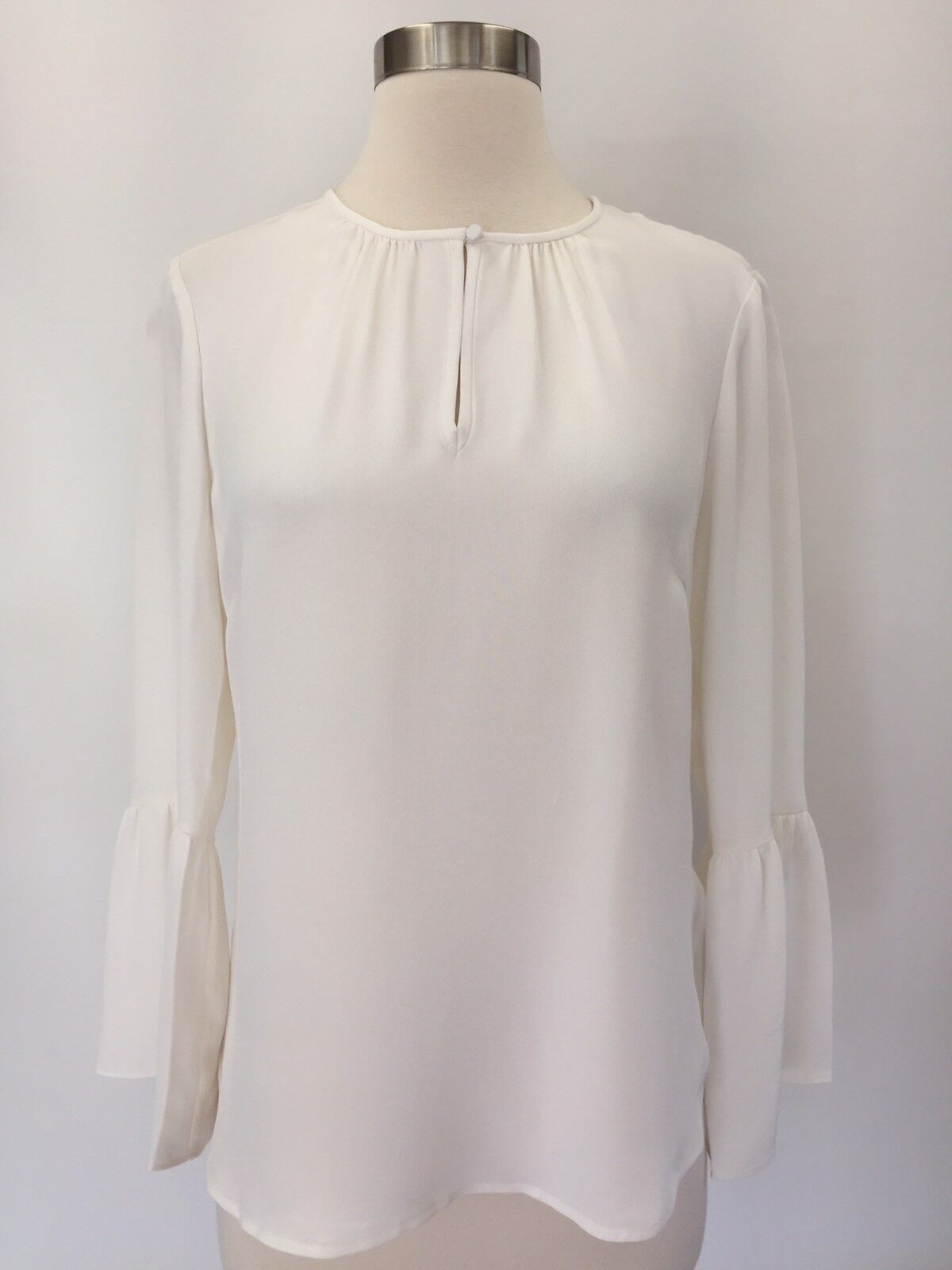 New G2467 J.CREW Ivory Silk Bell-Sleeve Top Blouse Size 2