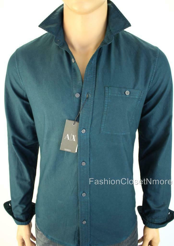 ARMANI EXCHANGE AX Mens Denim Twill Utility Button Down Shirt Logo Slim NWT