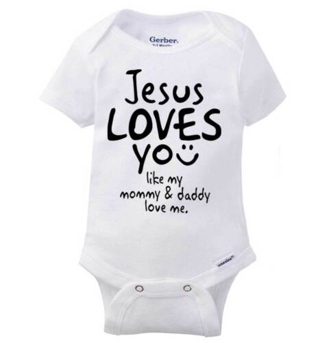 Jesus Loves You Adorable Gerber OnesieMommy Daddy Cute Christ Baby Romper