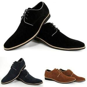 Mens Formal Smart Faux Suede Leather Wedding Party Smart Designer Branded Shoes