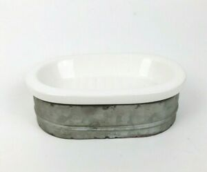 Ceramic-Soap-Dish-with-Galvanized-Basin-Primitive-Farmhouse-Decor