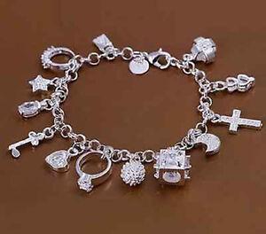 1X-Neu-Silber-plattiert-Armband-Bettelarmband-Zirkonia-13-Anhaenger-19-cm-M9P4
