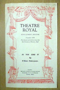 Theatre Royal Bristol Progrramme 1950 AS YOU LIKE IT by William Shakespeare - ilford, Essex, United Kingdom - Theatre Royal Bristol Progrramme 1950 AS YOU LIKE IT by William Shakespeare - ilford, Essex, United Kingdom