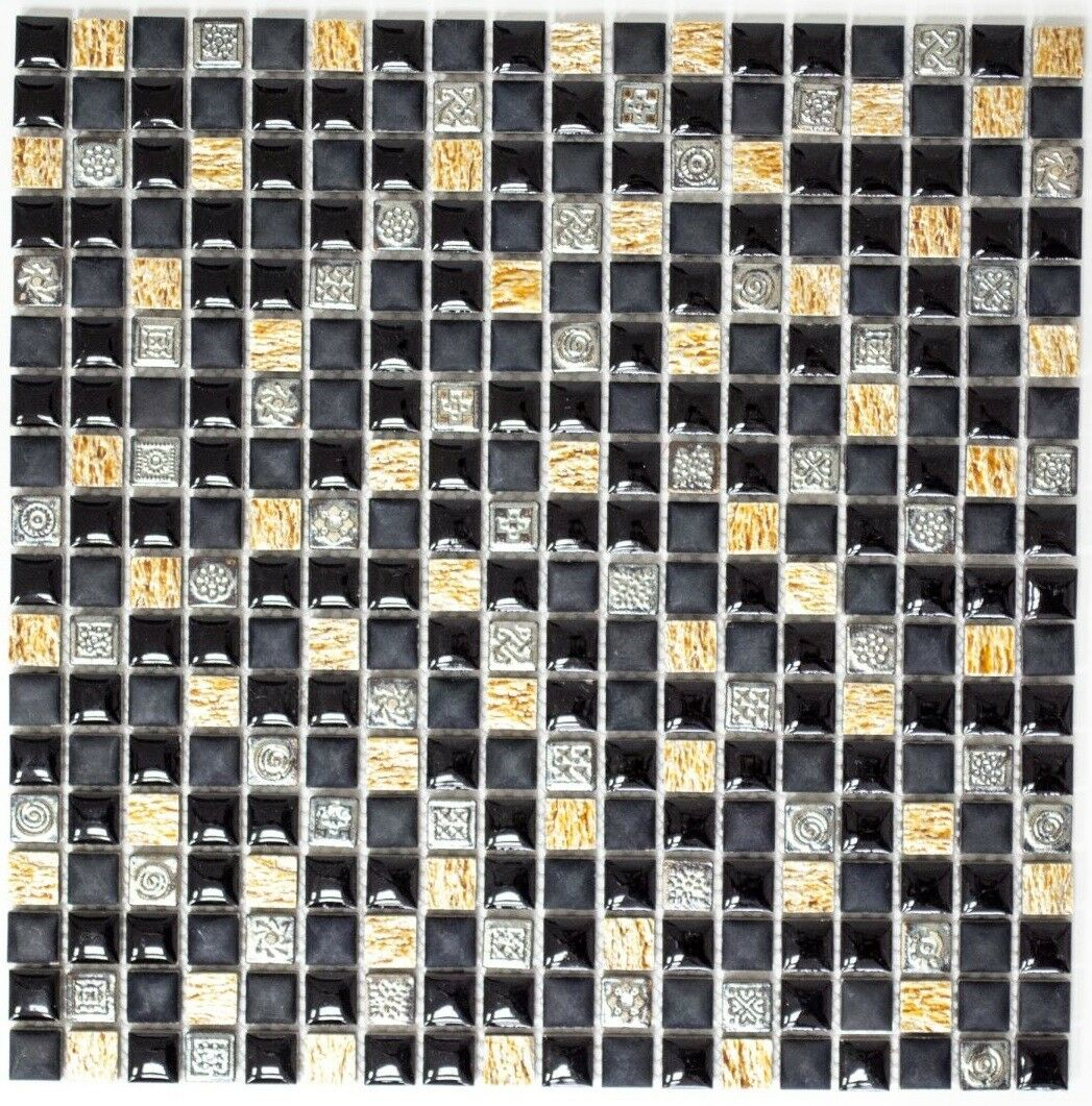 Mosaïque carreau translucide resin pierre schwarz cuivre bain 92-0301_f  10 plaques