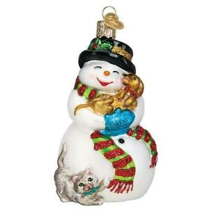Old-World-Christmas-SNOWMAN-WITH-PLAYFUL-PETS-24202-N-Glass-Ornament-w-OWC-Box