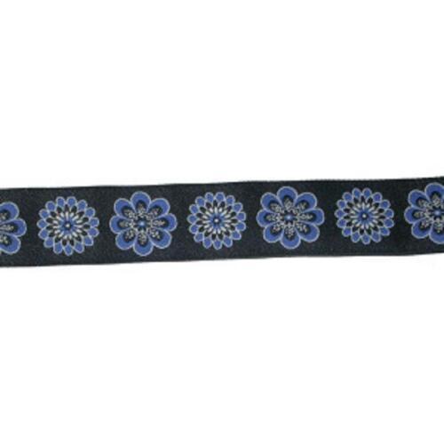 "Blue Floral on Black Jacquard Trim x 1 yd 28mm 1.1//8/"""