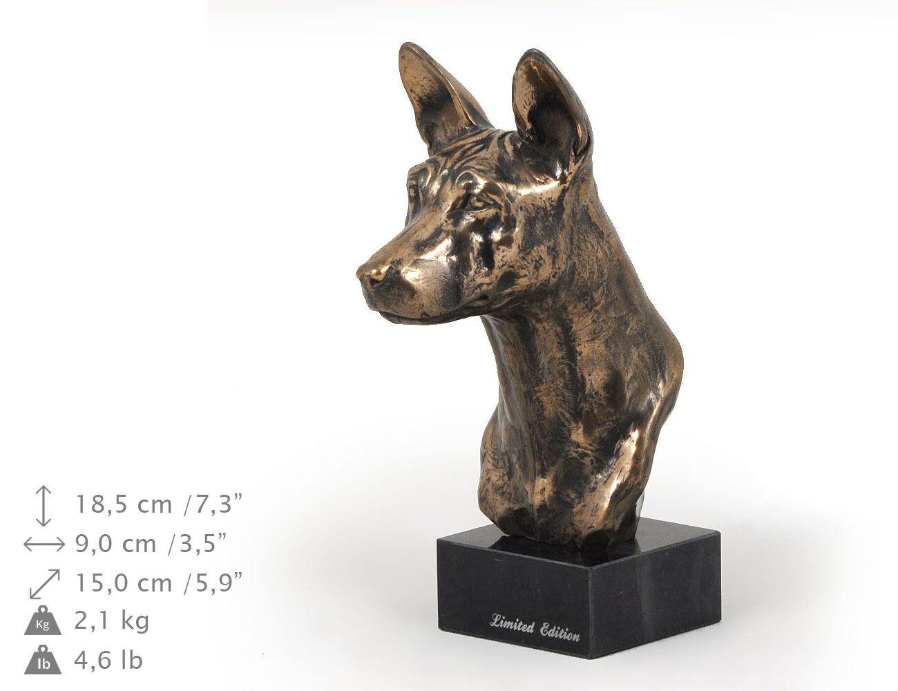 Basenji, estatua de mármol   busto de perro ArtDog, edición limitada ES