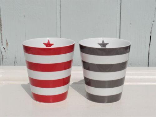 Stern porcelaine maritime h.10 Krasilnikoff Gobelet bandes rouge ou gris foncé M