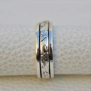 Solid-925-Sterling-Silver-Spinner-Ring-Meditation-Ring-Statement-Ring-Size-a8999