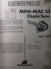 Mcculloch Chain Saw Mini Mac 35 Parts Manual 2 Cycle Gasoline Chainsaw 1975