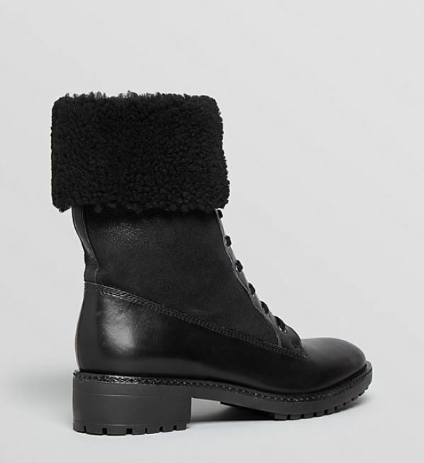 Via Spiga Women's Evi Lace-Up Lace-Up Lace-Up Combat Black Leather Boots Size 9 M a230ad