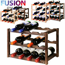 Wooden Wine Rack Tabletop Bottle Holder Storage Stand Champagne Stack 3 & 4 Tier