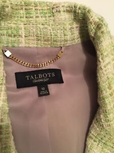 Talbots 4 10 Green 3 Sz Tweed Sleeve Dress Euc Jacket Womens Bella Business 6xA6pOqwT