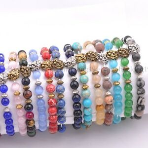 8MM-Natural-Gemstone-Round-Beads-Lion-Head-Stretchy-Bracelets-Assorted-Stones