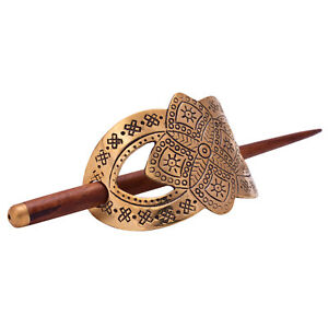 Gold-Tone-Symbol-Ethnic-Tribal-Metal-Clip-Stick-Hair-Accessory-Indian-Bun-Pin