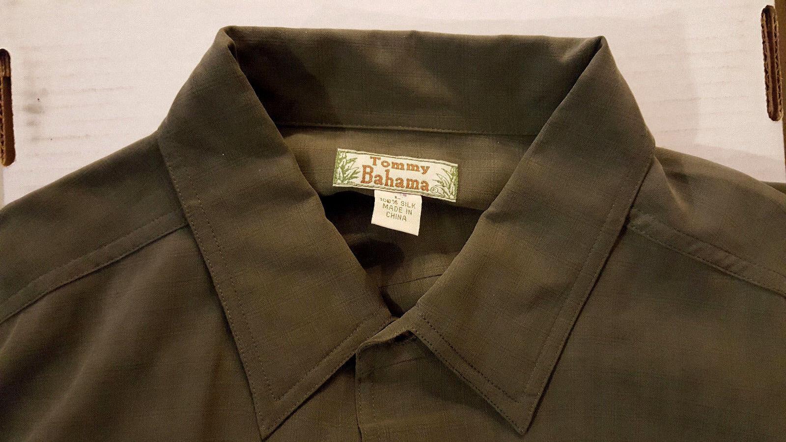 Tommy Bahama Uomo L/Sleeve  Camp shirt Size L L Size Olive verde solid 100% Silk NWOT ce2c20