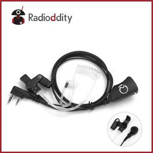 Acoustic-Tube-Earpiece-PTT-Mic-Volume-Knob-for-2-Pin-Ham-Radio-Baofeng-Kenwood