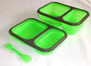 Silicone Collapsible Food Container Green Lunch Tray Compartments