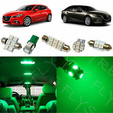 8x Green LED lights interior package kit for 2014 & Up Mazda 3 Mazda3 MT1G