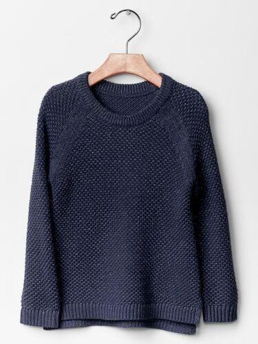 NWT $35 Baby GAP Girls Metallic Raglan Sweater Navy Pullover 18 24 mo 2T 3T 5T
