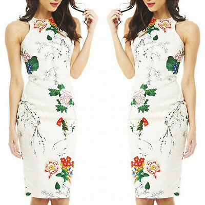 Women Floral Casual Sleeveless Party Evening Cocktail Short Mini Pencil Dress