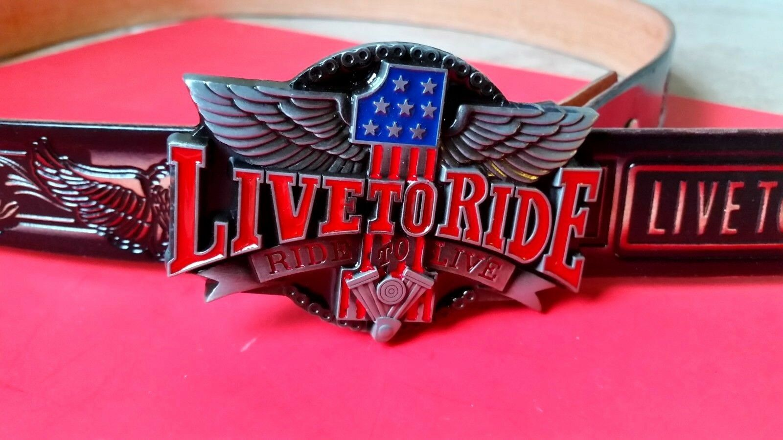 LIVE TO RIDE Leather Belt & Epoxy LTR Buckle (28