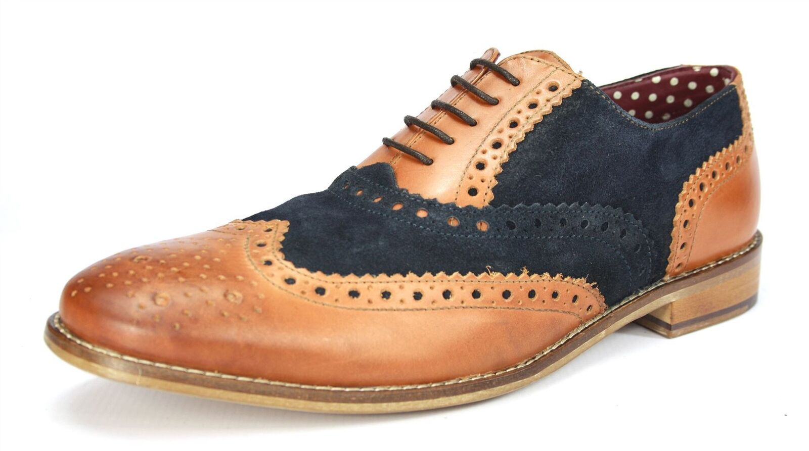 London Brogues Gatsby Tan / Navy Lace Up Brogues Mens Leather Round Toe Shoes