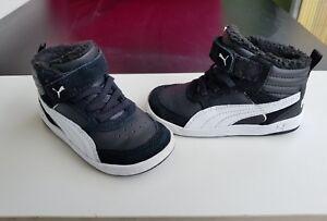 Mid Cut von Puma Kinder Schuhe Klettverschluss schwarz weiß