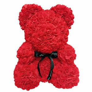 Flower Bear Lovely Teddy Bear Lovers Wedding Rose Bear Fathers Christmas 25CM UK