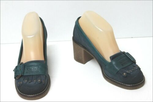 Kickers Mocassin Heels Crust Leather Blue And Gree